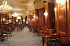 1990s restaurant indoor with luxury wooden furniture