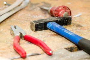 tool, work bench, hammer